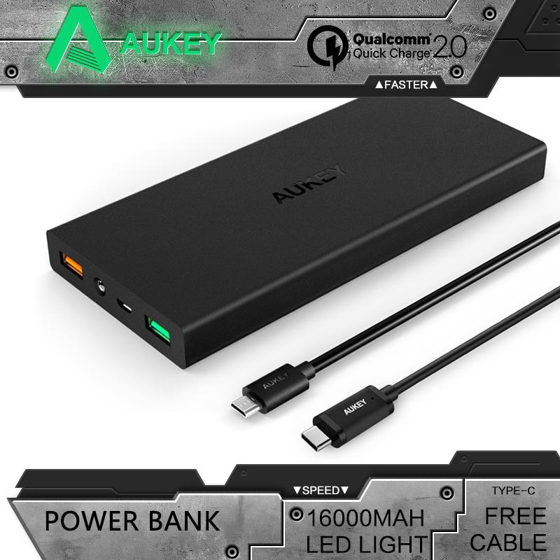 Aukey Quick Charge 2.0 16000mAh External Battery 5V 9V 12V Dual Usb Power Bank with Type-C Cable for Mobile Phone Charger