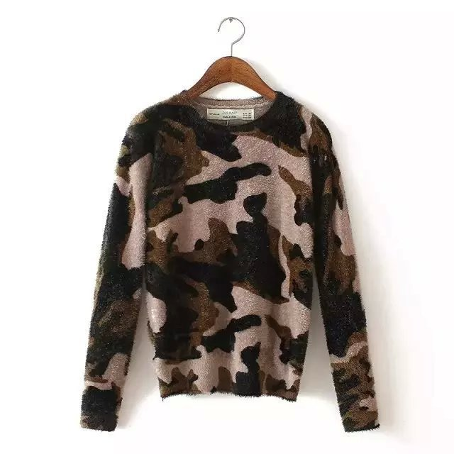 2015 Sweaters Pullovers Autumn Winter New Camouflage Pullover O-neck Long-sleeved Women Sweater Za/7 - LITTLE DREAM SHOP store