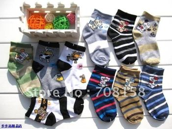 Free Shipping,Cotton Non-skid Girls&boys infant cotton sock Cartoons mix dyed size:9-15CM(0-3T
