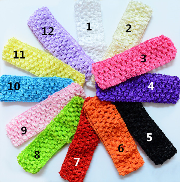 12 pcs/ lot U Pick Color Baby Girl's 4cmx 15cm Baby Girls Stretchy Elastic crochet Headbands Kids Accessories(China (Mainland))