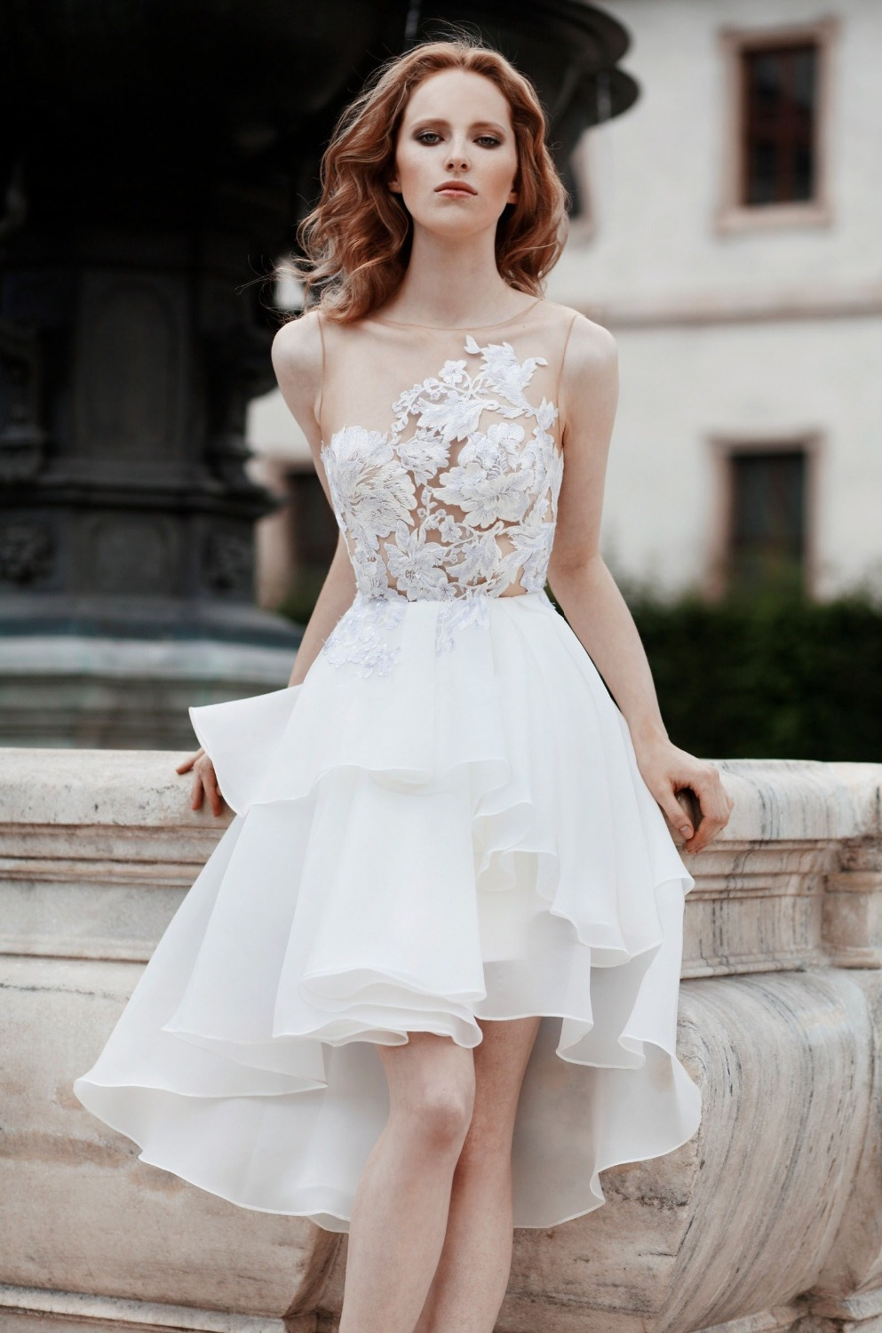 Aliexpress Buy Abiti Da Sposa See Through Bodice With Lace Short Wedding Dress White