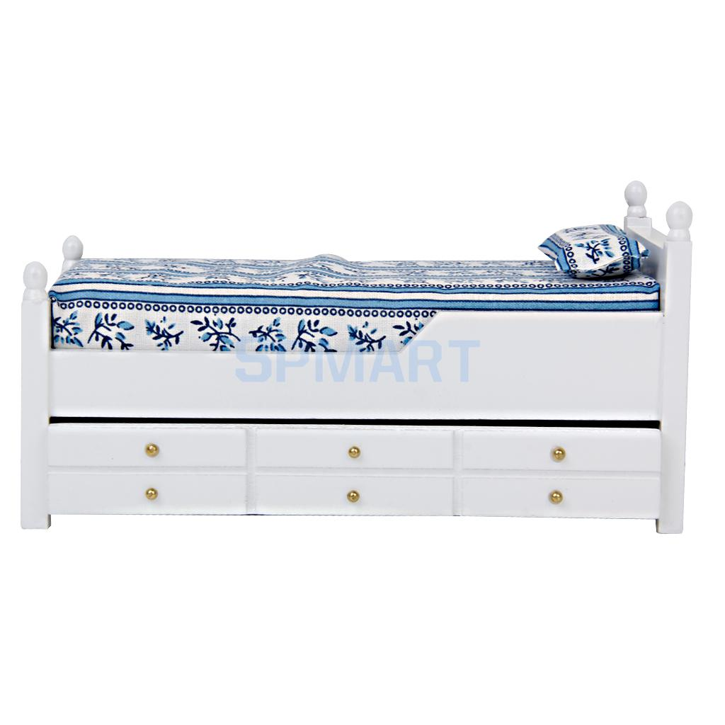 New Arrivals 2015 1/12 Dollhouse Miniature Drawer Bed Furniture Model Two Layers Wood for Bedroom Free Shipping(China (Mainland))