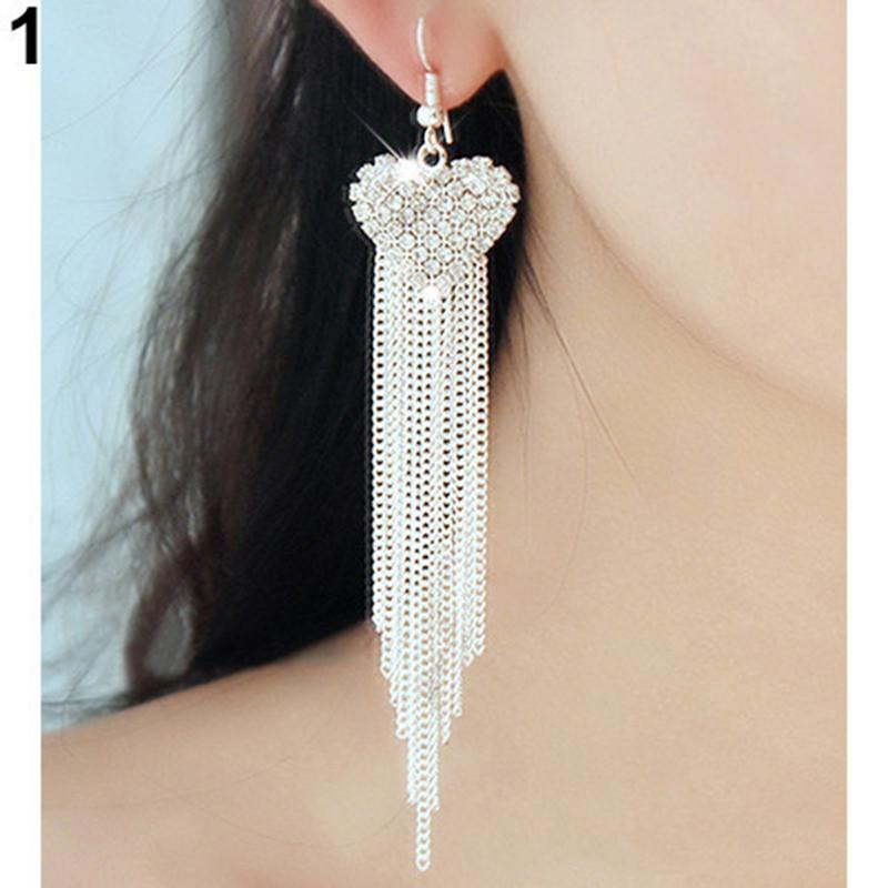 1 Pair Sliver Gold Women's Love Heart Party Long Tassels Rhinestone Hook Dangle Linear Earrings(China (Mainland))