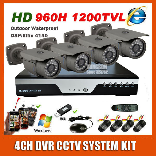 Home 4CH CCTV System DVR Cam kit Sony 960H Effio 1200TVL Bullet Waterproof Video Surveillance Camera kits Free shipping(China (Mainland))