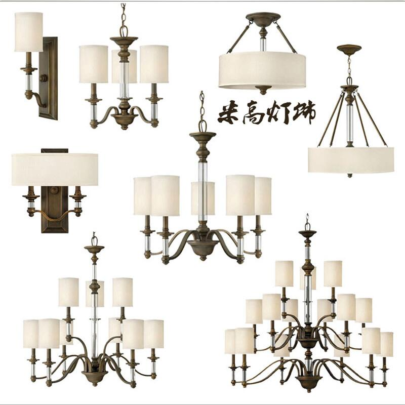 Custom American country pastoral cloth K9 crystal chandelier bronze ceiling living room European-style retro Nordic Iron Restau(China (Mainland))