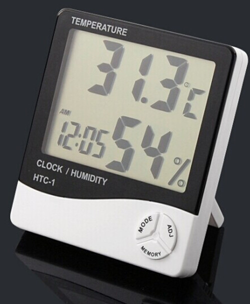 New 2015 Digital LCD White Hygrometer Temperature Humidity Meter Gauge Clock
