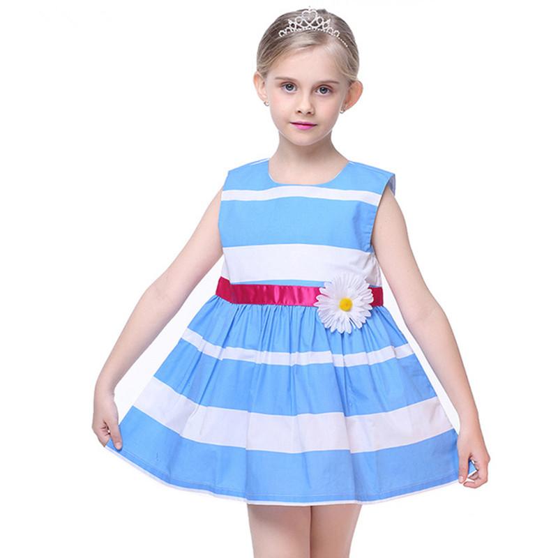 Girls Summer Sleeveless Dress Baby Girl Blue and White