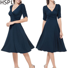 Buy HSPL Women summer Dress Rockabilly Business Office Work Swing Evening Party Wrap Dresses 2017 Deep V Neck Lady Sexy Dress for $15.68 in AliExpress store