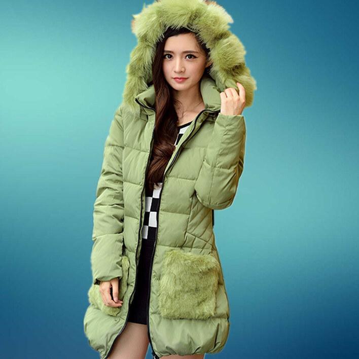 Green Winter New Korean Wome Slim Down Jacket Fox Fur Collar Nagymaros Collar Long Style Belt Women Coat D