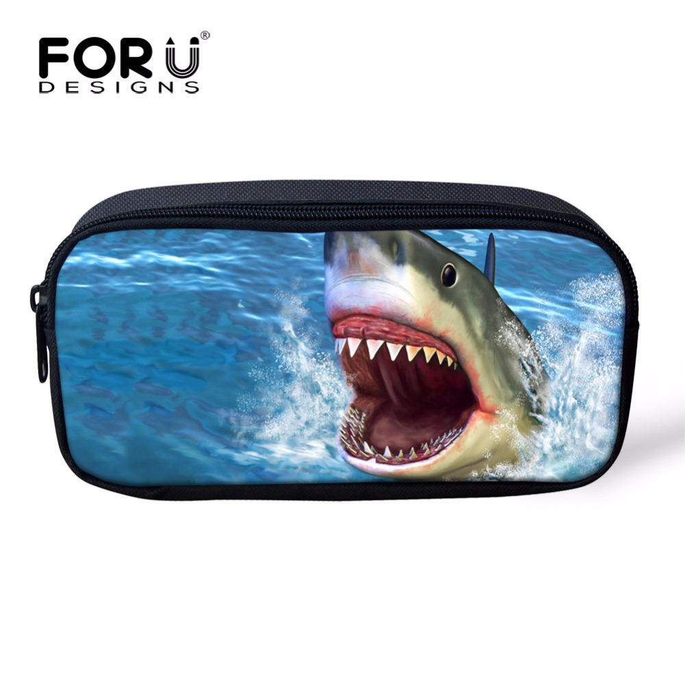 3D Animal Printing Women Cosmetic Case Organizer for Make up Cool Shark Blue Kids School Pencil Box Pen Pouch Travel Makeup Bag(China (Mainland))