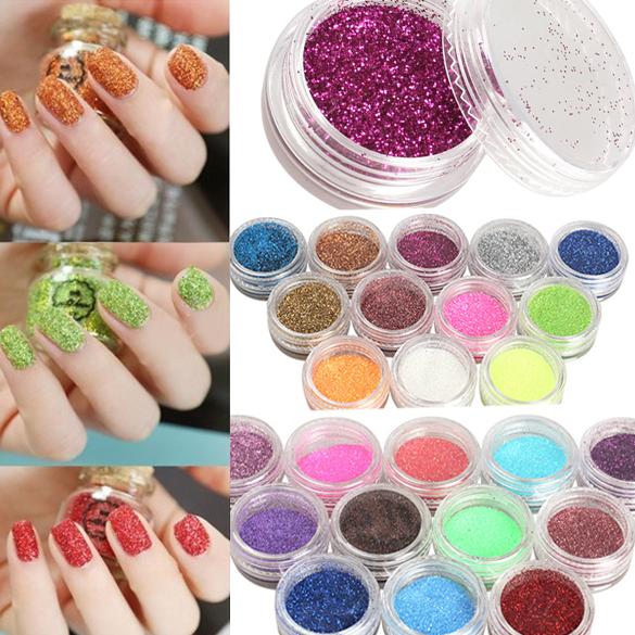 24 Colors Nail Art Glitter Powder Dust For UV GEL Acrylic Powder Decoration Tips Color Acrylic Nail Powder<br><br>Aliexpress