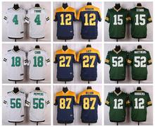 100% Stitiched,Green Bay Packers,Aaron Rodgers,eddie lacy,Randall Cobb,Clay Matthews,Brett Favre Kenny Clark,customizable(China (Mainland))