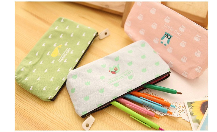 pen box pouch bag bags school canvas pencil case vintage stationery case printing large South Korea cute cheap art stationery