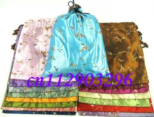 Top list shoes bags Cheap 2011 China fashion gift bag 100pcs mix Free Silk Embroidered Drawstring shoe bag pockets(China (Mainland))
