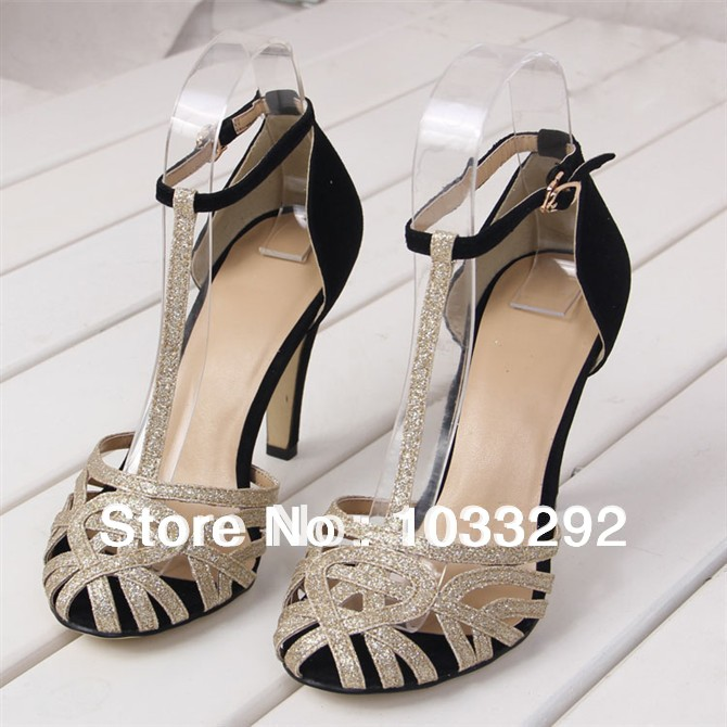 2014 new fashion lady's strappy gladiator sandals ankle strap high heels pumps party wedding shoes gold silver