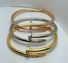 Personalized Nail Bangles For Women And Men Summer Collection Gift 18K Gold Rose Gold Plated Stainless Steel Bracelet Jewelry(China (Mainland))