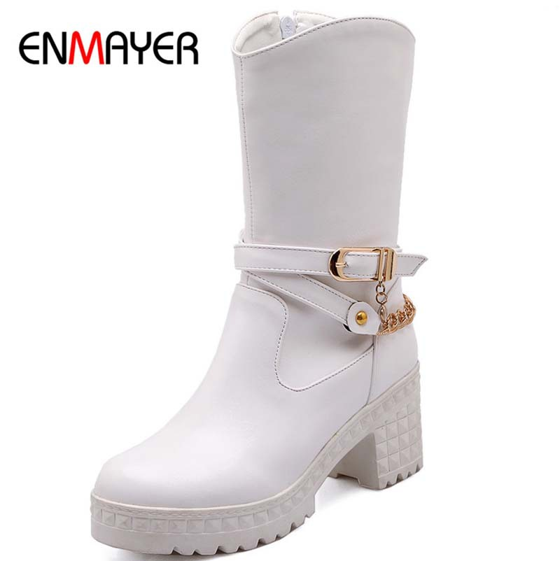 ENMAYER New Winter Boots Fashion Round Toe Thick High Heels Half High Boots Zipper Buckle Women Boots Platform Motorcycle Shoes<br><br>Aliexpress