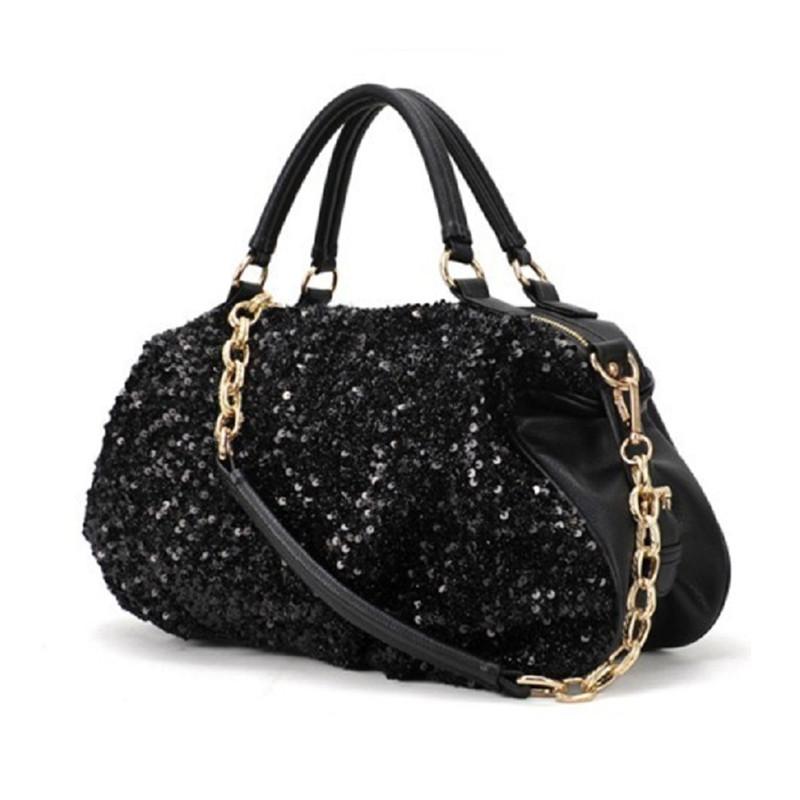 Woman Bags 2015 Fashion Women Sequin Handbag PU Leather Shoulder Bag Women Chain Bling Handbags Black Bag Feminino(China (Mainland))