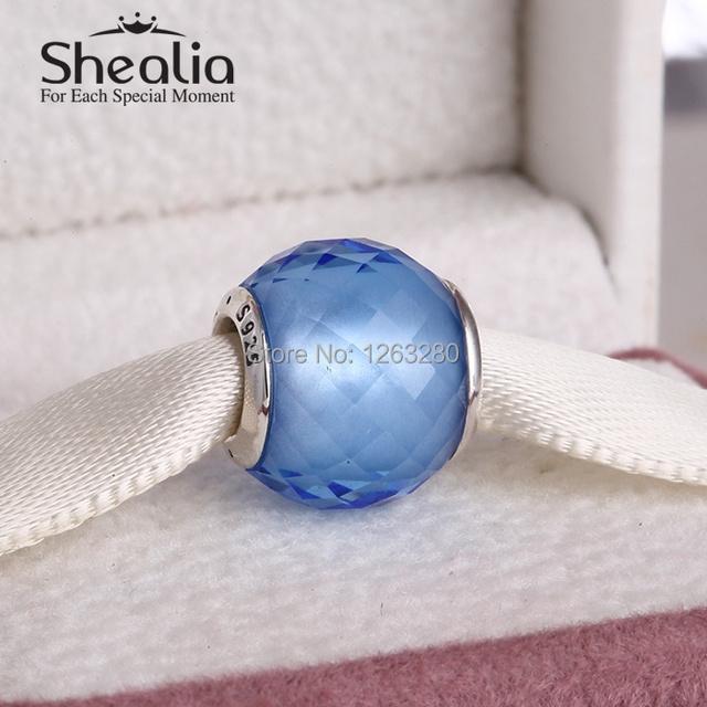 Лето коллекция маленький грани синтетический синий кварцевый стекло бусины 925 чистое серебро SHEALIA ювелирные изделия для браслет BD233