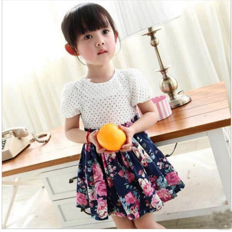 Pleated Floral Girls Dress 2015 Printing Hollow Child Clothes Lace Korean Summer Baby Outfits A Line Pleated Floral Girls Dress(China (Mainland))