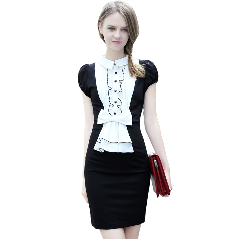 2016 New Sexy Women Vintage Short Puff Sleeve Pencil Office Dress Bodycon Bow Black White Patchwork Summer Dress Vestidos(China (Mainland))