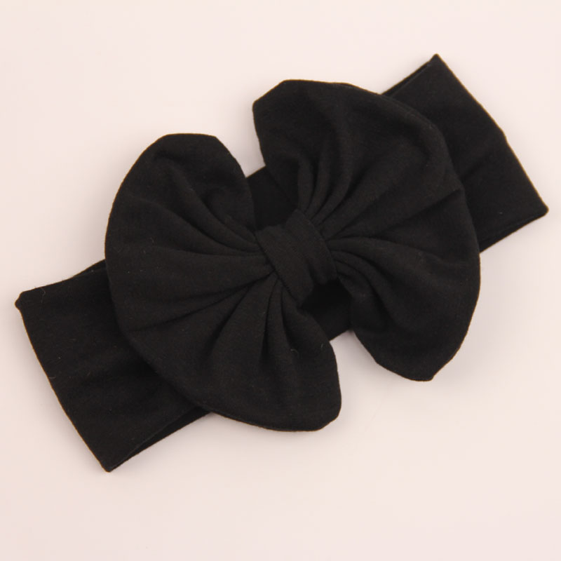 Cute Cool Lovely Baby Girl Big Bow Hairband Stretch BowKnot Turban Headband Knot Head Wrap Black(China (Mainland))