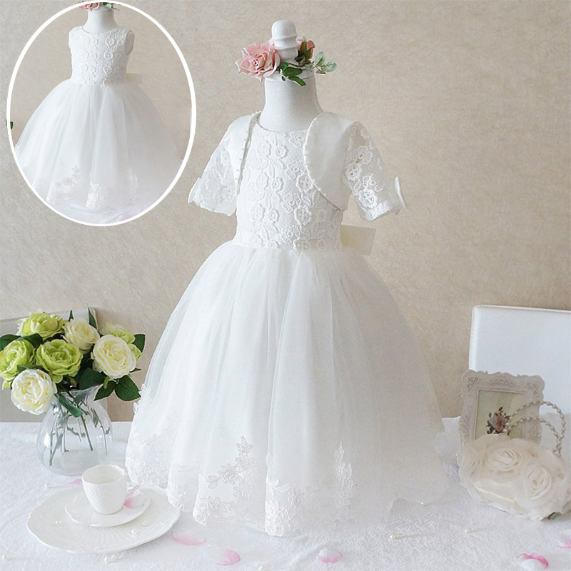 2016 Luxury Princess White Dresses for girls ball gowns for wedding <font><b>frocks</b></font> baptism birthday party girl dress Kids Clothes Child