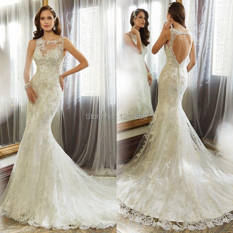 Low Back Mermaid Wedding Dress : Mermaid cap sleeve big tail low back sexy dresses lace wedding dress