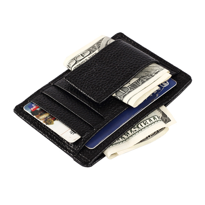 New Two colors Genuine Leather Money Clip Ultrathin Pocket Clamp Credit Card holder for money ID card case wallet Black&amp;Coffee<br><br>Aliexpress