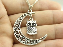 WYSIWYG Women Fashion necklace , Crescent Moon necklace with cute owl charms, owl necklace jewelry, owl with moon necklace(China (Mainland))