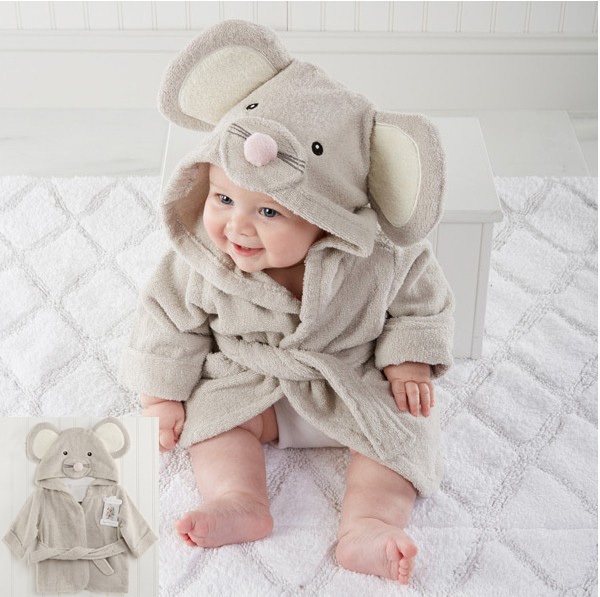 2016 baby breathable hooded bathrobe little mouse sotf cute warm baby bath towel absorbent toweling bathrobes lovely towels(China (Mainland))