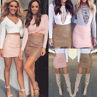 Newest Women Sexy Bandge Leather High Waist Pencil Bodycon Hip Pink Brown Short Mini Skirt