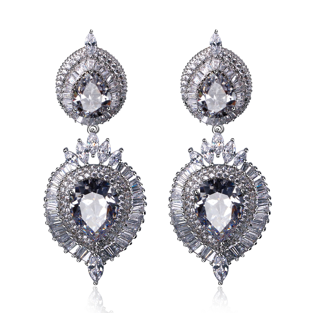 Platinum filled earrings long luxury drop earrings Evening dress matching jewelry for party with top quality Champagne/Clear CZ(China (Mainland))