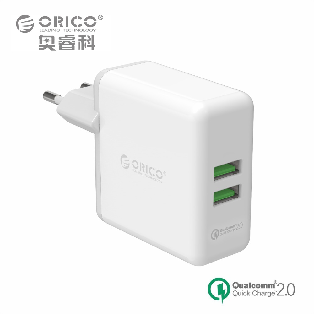 Travel Charger QC2.0,ORICO QCK-2U 2 Port Compact and Portable Wall Charger 36W Max for Apple Samsung smartphone iPad Tablet IC(China (Mainland))