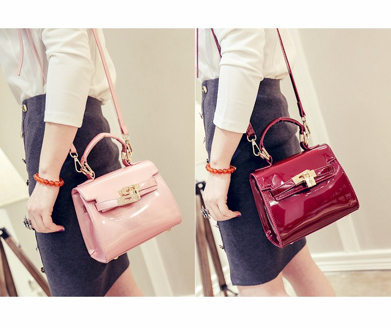 Lovely Candy Color Glazed Leather Handbag Women Trendy Designer Small Shoulder Bag Lock Belt Ornament PU Bag Ladies Crossbody