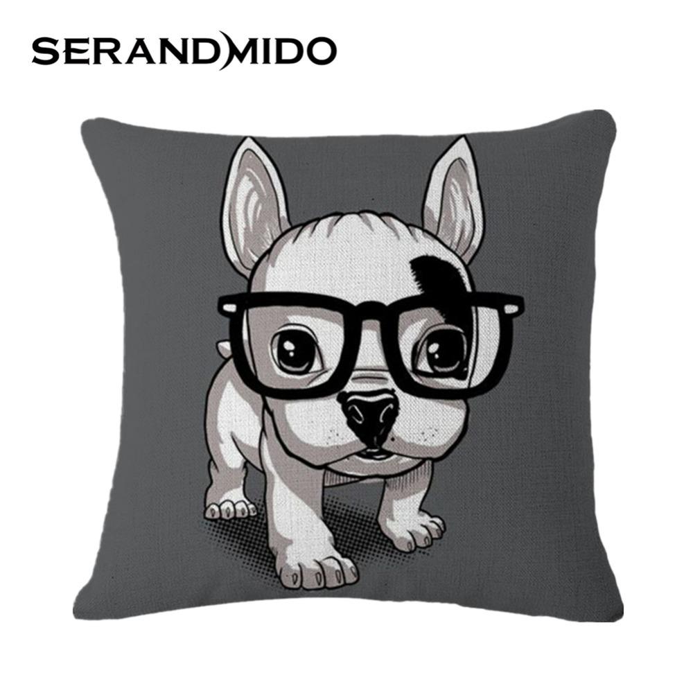 Creative Cartoon Cushion Cover Square Lovely French Bulldog Cotton Linen Pillow Case Decoration for Sofa Car Home SMC963T()
