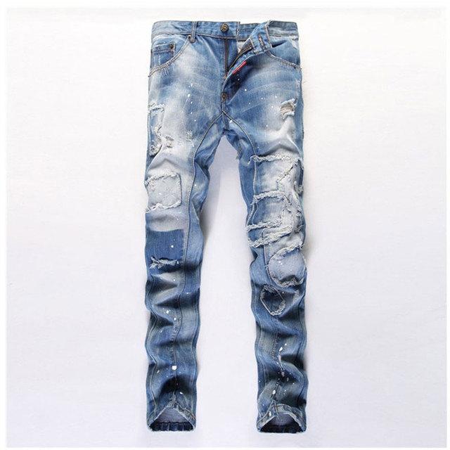 Известные люди нищий отверстие джинсы прямо уменьшают подходящую рваные джинсы мужчины ...