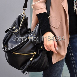 2015 Design Women Fashion Rivet Tassels Motorcycle Handbags Big Shoulder Bag PU Leather Black Color Crossbody - Pomato Technology Co., Limited store