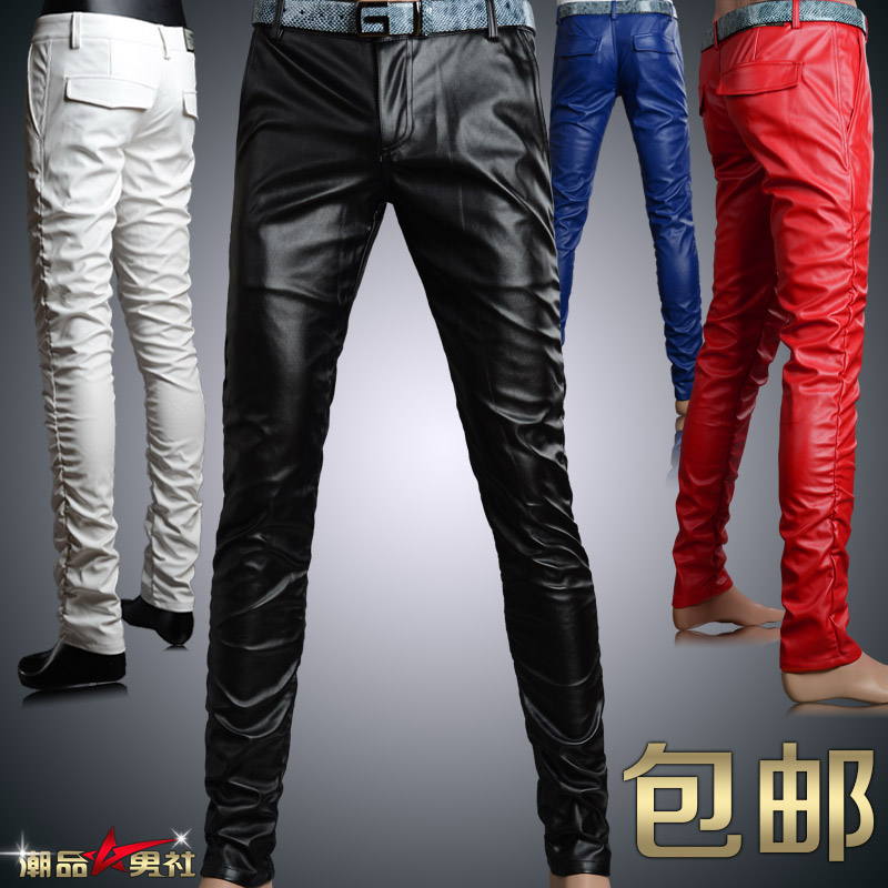 6 Colors Male personality men's clothing tight PU faux leather pants men slim fit trousers man spring 2014 designer - Lance David's Professional Men Apparel & Accessories store