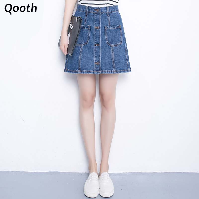 2016 Spring Casual Skirts Mini Slim Hip Skirt Denim Skirts A-line Empire Skirts With Button Women S-2XL Solid Color DN206(China (Mainland))