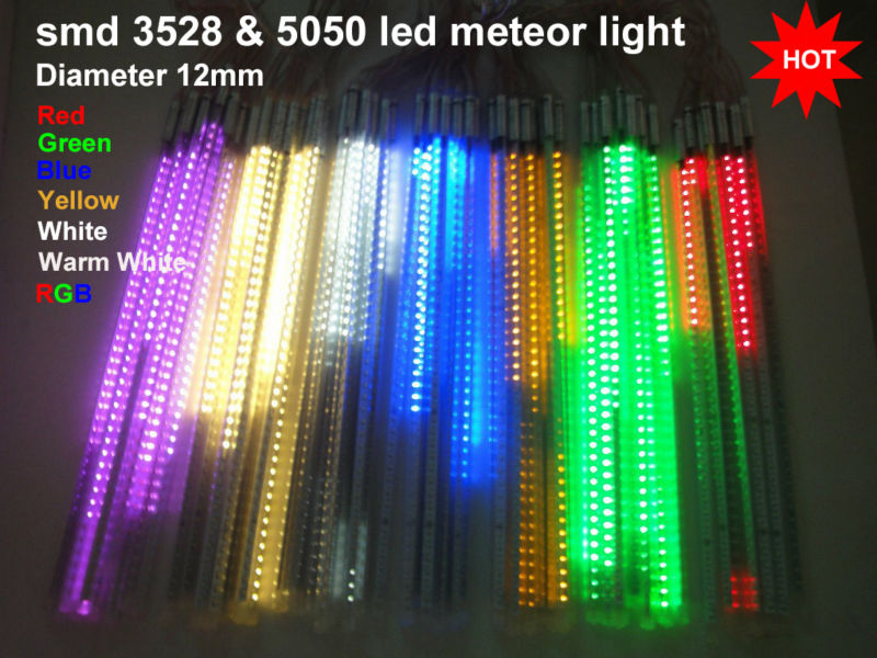 12v smd 3828 5050 led meteor light 60leds 12mm meteor shower rain tube christmas lights outdoor Red/Green/Blue/Yellow/ White /WW(China (Mainland))