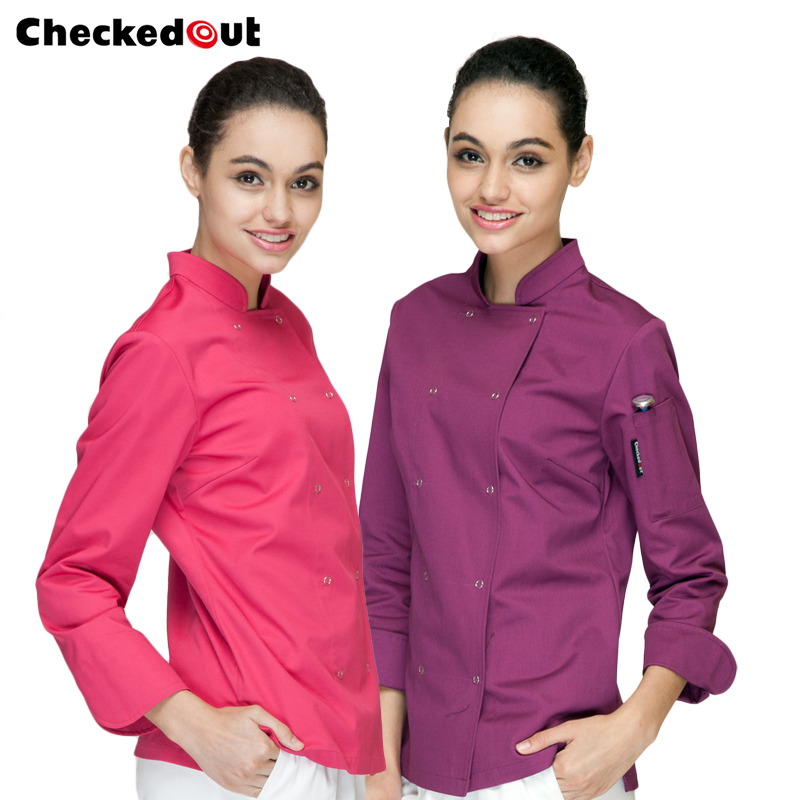New hot sale hotel/kitchen uniform long sleeved working chef vest women design restaurant tops multi Color free shipping(China (Mainland))