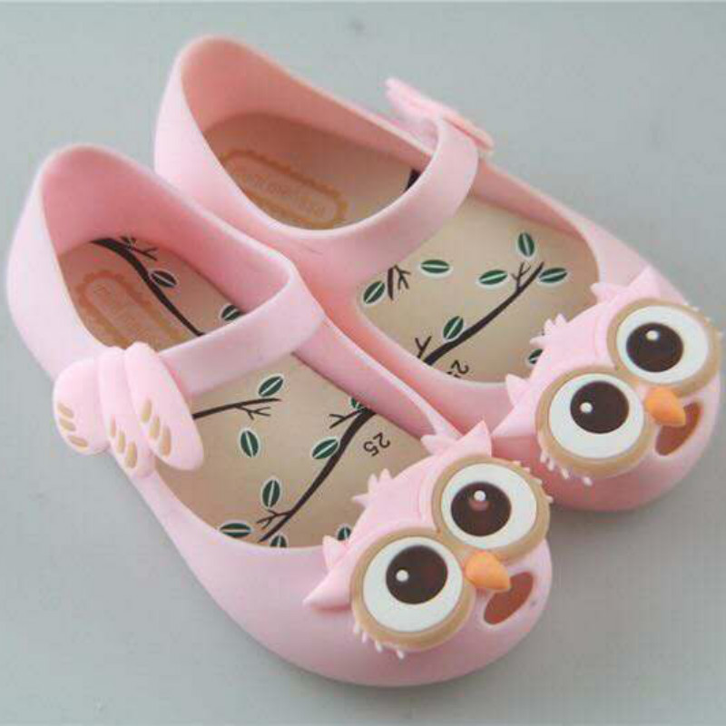 2016 kids Girls sandals mini melissa jelly shoes owl PVC soft outsole children sandals boys melissa Rain boots14.5-17.5cm(China (Mainland))