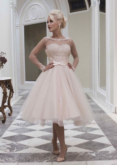 Boutique blush pink sheer lace long sleeve wedding dresses for Long sleeve blush wedding dress