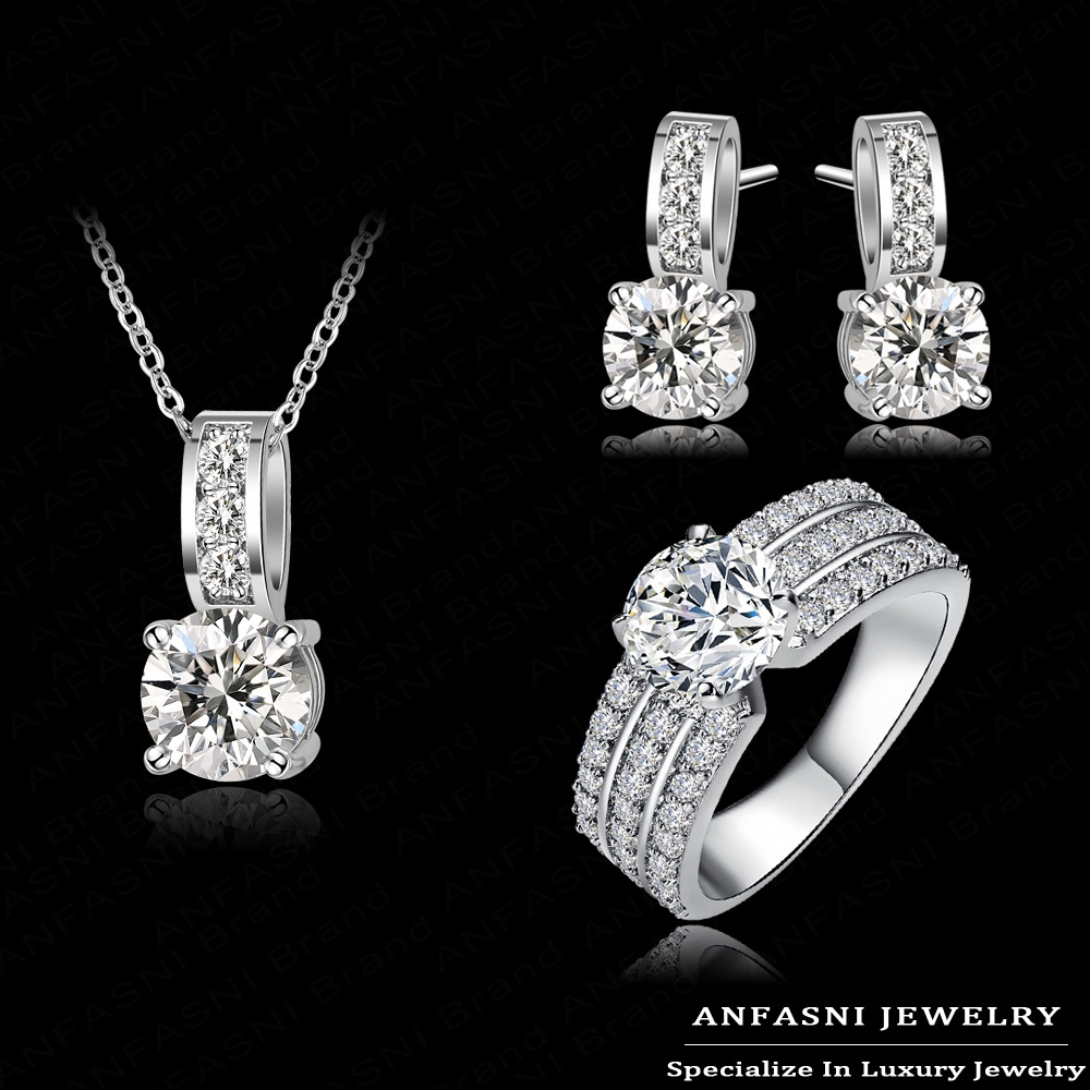 2014 New Arrival Wedding Jewelry Set Platinum Plt Swiss Crubic Zircon Necklace/Earring/Ring Set Choose Size For Ring CST0022-B(China (Mainland))