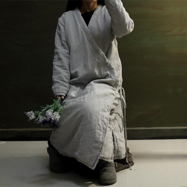 Скидки на 2015 осень зима лен толщиной парка пальто женщин в воротник с стихарь халат ретро крест-накрест троса хлопка-ватник парки пальто