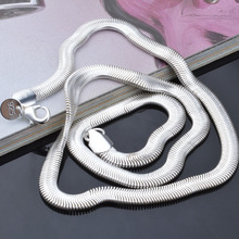 Buy 6mm (16inch-24inch) Silver Snake necklace Lobster Clasp Necklace silver snake Chain women men for $1.85 in AliExpress store