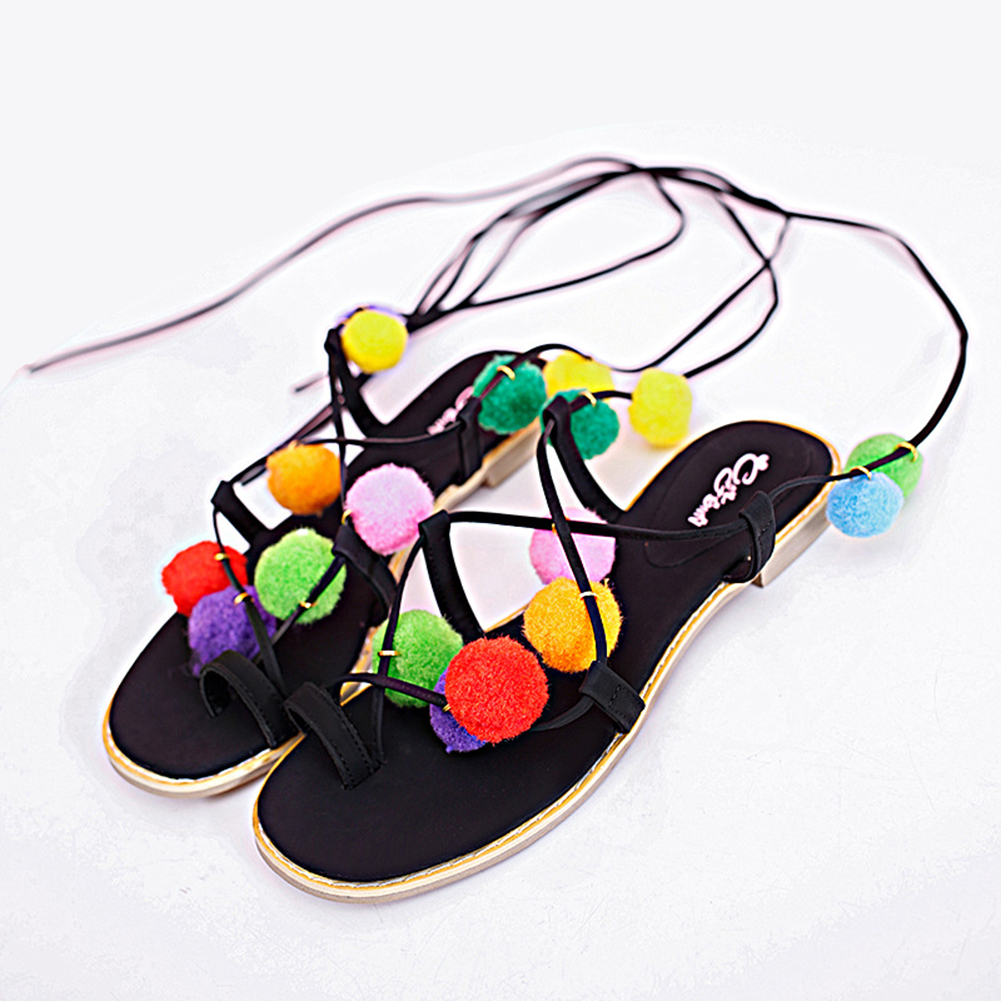 New 2016 Shoes Women Sandals Lace Up Sexy Boots Gladiator Tie String Plush Ball and Flower Shaped Casual Flat Sandals(China (Mainland))