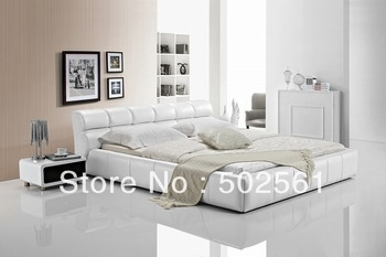 2014 new modern genuine leather bed include salt white bedroom furniture