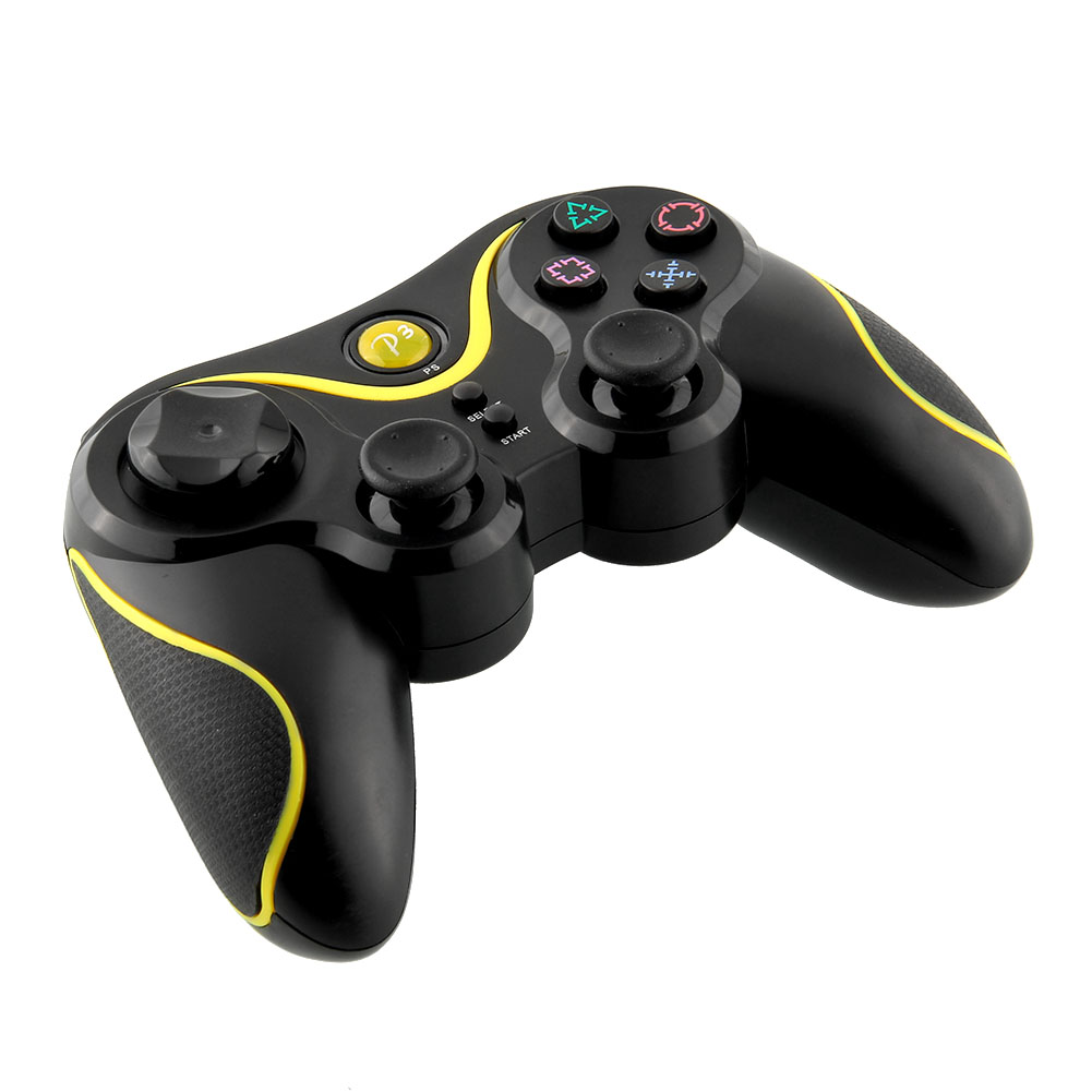 Bluetooth Wireless Doubleshock LED Controller Black Yellow For Sony for PS3 Playstation 3 PC Video Game(China (Mainland))
